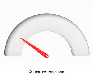 Empty Tachometer isolated on a white background. 3d render