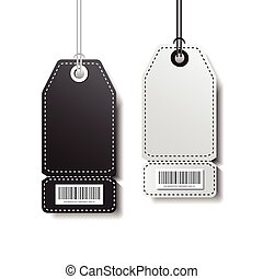 Empty Tags Template Shopping Stickers With Bar Code Isolated On White Background
