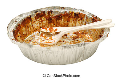 Empty take out food container with plastic knife and fork - ...