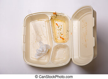 Empty takeout food box with scraps left over from eating