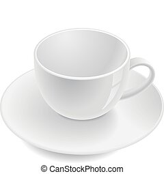 Empty teacup on saucer. Vector illustration