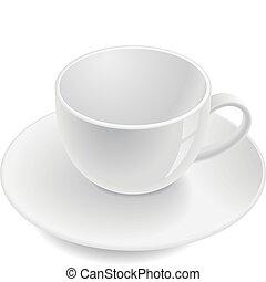 Empty teacup on saucer. Vector illustration