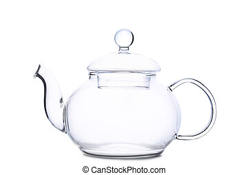 Empty teapot isolated on a white