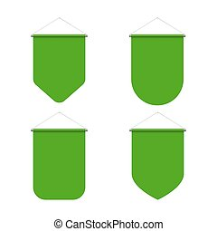 Pennant Set - Empty Template of Vertical Green Blank Pennant...