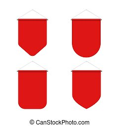 Pennant Set - Empty Template of Vertical Red Blank Pennant ...