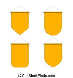 Pennant Set - Empty Template of Vertical Yellow Blank...