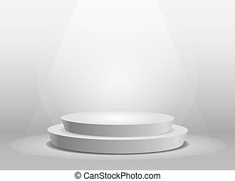 Empty template of white round podium