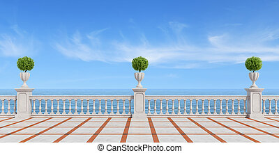 Empty terrace overlooking the sea with concrete balustrade...