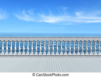 terrace overlooking the sea - empty terrace overlooking the...