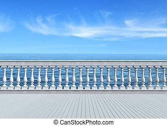 empty terrace overlooking the sea with concrete balustrade and woosen white floor - rendering