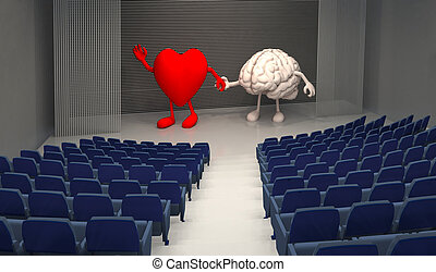 empty theatre with big heart and human brain on stage