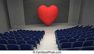 empty theatre with big heart on stage