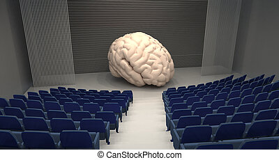 empty theatre with big human brain on stage