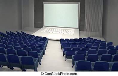 empty theatre with big notebook on stage, streaming cinema concepts
