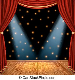 Empty theatrical scene stage with red curtains drapes and...