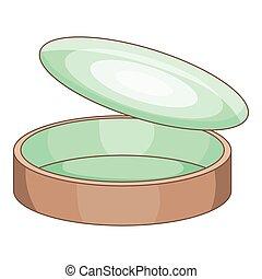 Empty tin can icon, cartoon style