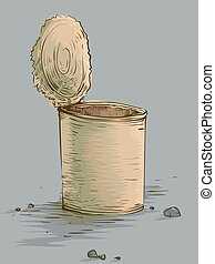 Empty Tin Can Poverty Symbol - Illustration Featuring an Old...