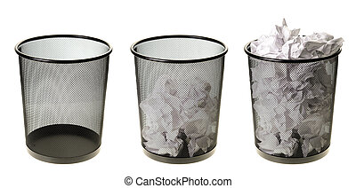 Empty To Full Garbage Cans - Three garbage cans going from...