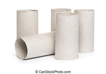 toilet paper on white background