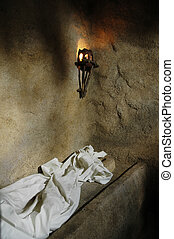 Inside of a replica of the empty tomb of Jesus.