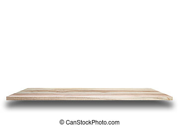Empty top of wooden shelves or counter isolated on white...