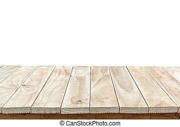 Empty top of wooden table or counter isolated on white...