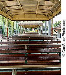 Empty tour bus