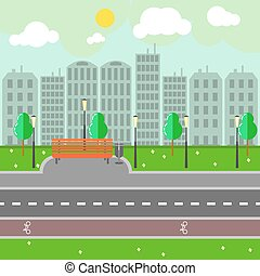 Empty town landscape and road on street vector illustration.