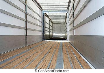 Empty trailer horizontal - Interior view of empty semi truck...