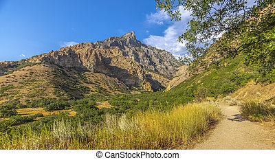 Empty Trails in Provo Canyon with mountains pano