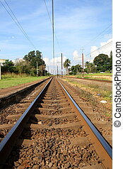 train tracks - empty train tracks on a clear day