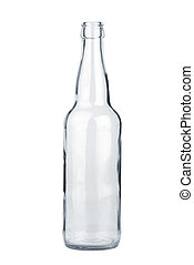 Empty transparent beer bottle isolated on the white ...