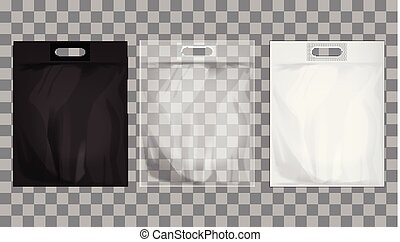Empty transparent, black, white plastic bag mock up isolated. Consumer pack ready for logo design or identity presentation. Commercial product food packet handle
