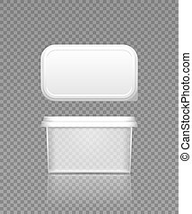 Empty transparent butter, cheese or margarine container with lid mockup - front and top view. Blank plastic food package cream, yogurt, dessert, spread. Product template. 3d vector illustration