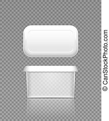 Empty transparent butter, soft cheese or margarine container with lid mockup - front and top view. Blank plastic food package cream, yogurt, dessert, spread. Product template. 3d vector illustration