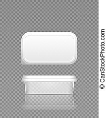 Empty transparent cheese, butter or margarine container with lid mockup - front and top view. Blank plastic food package cream, yogurt, dessert, spread. Product template. d vector illustration