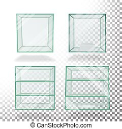 Empty Transparent Glass Box Cube Set Vector. For Exhibition And Presentation.