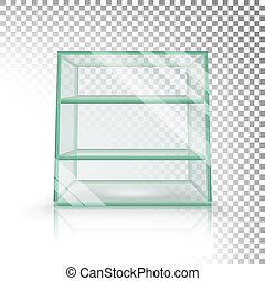 Empty Transparent Glass Box Cube Vector. 3D Realistic Glass Showcase With Shelves.