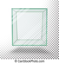 Empty Transparent Glass Box Cube Vector. Isolated On Transparent Checkered Sheet.