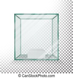 Empty Transparent Glass Box Cube Vector. Realistic Cube. Glass Showcase.