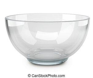 Empty transparent glass cooking bowl. - Empty transparent...