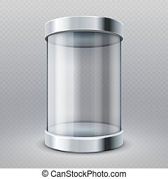 Empty transparent glass cylinder 3d showcase isolated vector illustration