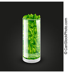 Empty transparent glass cylinder with leaves