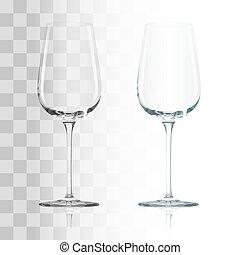 Empty drinking transparent wine glass vector illustration