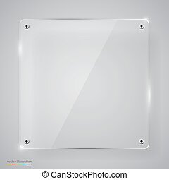 Empty transparent glass framework. Clean vector background