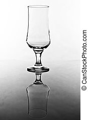 empty transparently glass in black and white