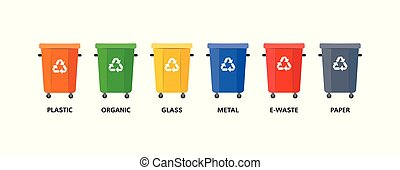 Empty trash bins of different colors for various types of garbage.