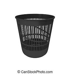Empty trash can isolated on white background, 3d rendering
