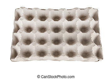 Empty tray of eggs isolated