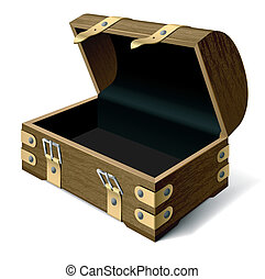 Detailed vector illustration of an empty treasure chest. Easily to put something inside.